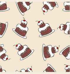 Seamless pattern of chocolate cakes vector