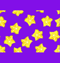 Seamless pattern with star fruit carambola vector