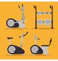Set machine gym sport design vector