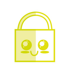 Silhouette kawaii cute happy padlock element vector