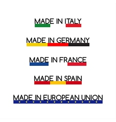 Simple logos made in italy made in germany vector