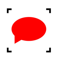 speech bubble icon red icon inside black vector image