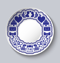 Valentines day decorative plate with empty space vector