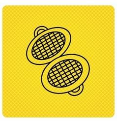 Waffle iron icon kitchen baking tool sign vector