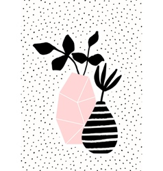 Pink and striped vase with branches vector