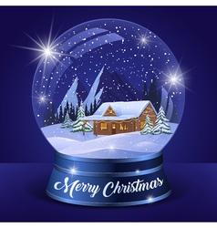 Christmas winter landscape globe vector