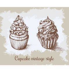 Set of sweet bakery decorated cupcakes hand drawn vector