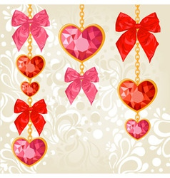 Shiny ruby heart pendants hanging on golden chains vector image