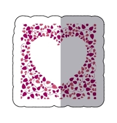Sticker border of creepers in pink heart shape vector