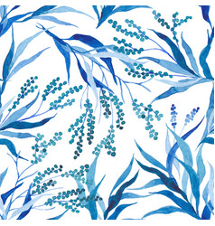 Hand painted watercolor leaves seamless floral vector