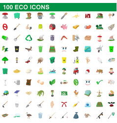 100 eco icons set cartoon style vector