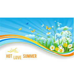 Hot summer banner vector