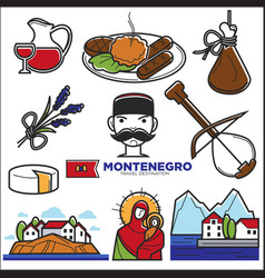 Montenegro culture and landmarks icons vector