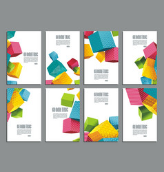 Flyers abstract geometric style with color cubes vector