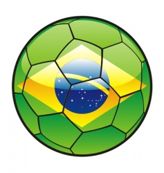 Flag of brazil on soccer ball vector
