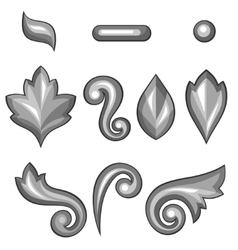 Set of baroque ornamental floral silver elements vector