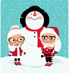 Elderly mr and mrs santa claus vector