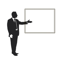 Silhouette of a man pointing gesture vector