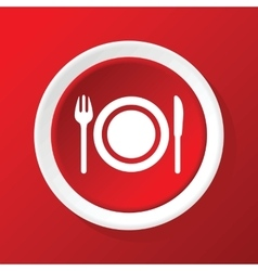Dishware icon on red vector