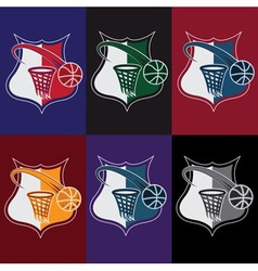 Set of vintage basketball crests vector