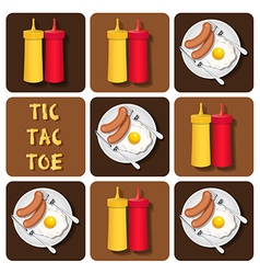 Tic-tac-toe of sausage and fried egg and seasoning vector