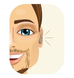 Smiling man wearing a hearing aid vector