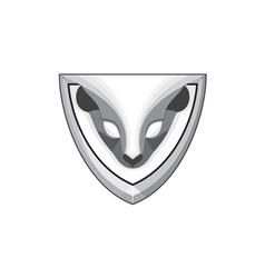 Skunk Head Front Shield Retro vector image