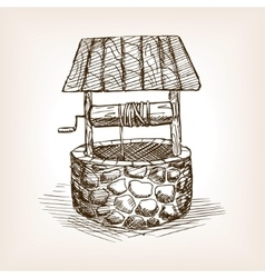 Rustic well sketch style vector