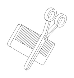 Comb and scissors icon isometric 3d style vector