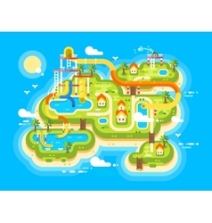 Aquapark plan flat vector