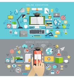Online education and mobile courses concepts vector