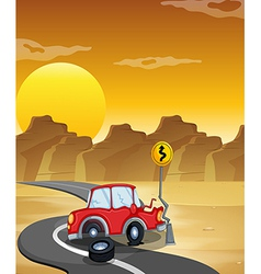 A red car having an accident at the road vector image