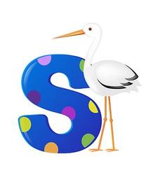 Alphabet with stork vector