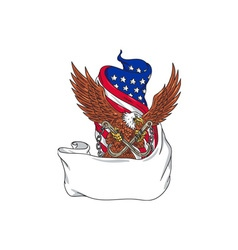 American eagle clutching towing j hook flag vector