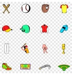Baseball set icons vector