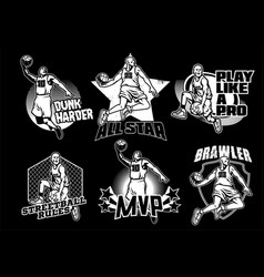 Basketball badge collection in black and white vector