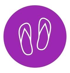 Beach slipper line icon vector