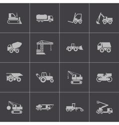 black construction transport icons set vector image