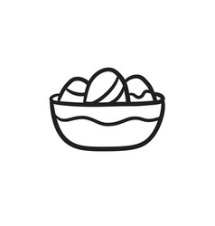 Bowl full of easter eggs sketch icon vector