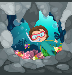 boy scuba diving vector image vector image