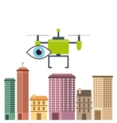 Cityscape buildings with drones flying vector