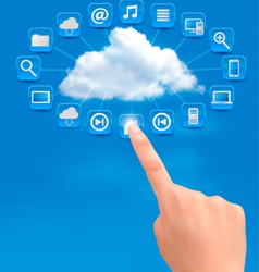 Cloud computing concept background with hand vector