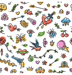 Colorful funny old school tattoo seamless pattern vector