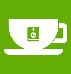 cup of tea with tea bag icon green vector image