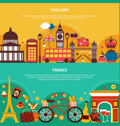 england and france horizontal banners vector image