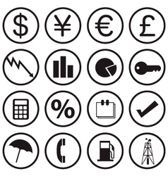 financial icons vector image vector image