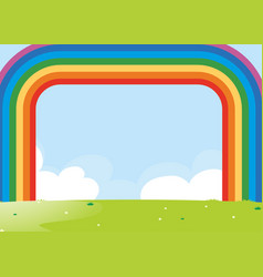 Frame design with rainbow over the field vector