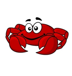 Fun smiling red cartoon crab vector