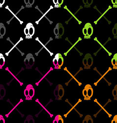 Halloween skull and bone pattern on black backgrou vector image