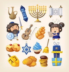 Hanukkah icons set vector